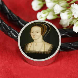 Anne Boleyn higher res Tudor Women Portrait Charm, Leather Bracelet