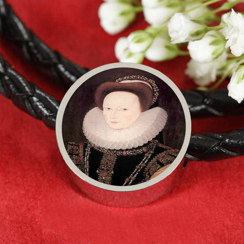 Anne West Tudor Women Portrait Charm, Leather Bracelet