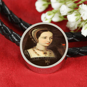 Mary Tudor Tudor Women Portrait Charm, Leather Bracelet