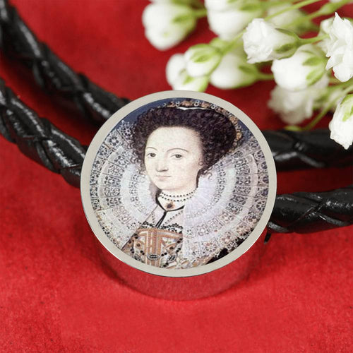 Emilia Lanier Tudor Women Portrait Charm, Leather Bracelet
