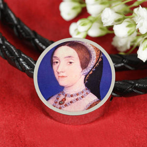 Katherine Howard Tudor Women Portrait Charm, Leather Bracelet