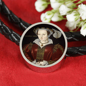 Catherine Parr Tudor Women Portrait Charm, Leather Bracelet