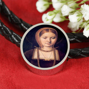 Katherine of Aragon Young Tudor Women Portrait Charm, Leather Bracelet