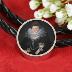 Lady Arabella Stuart Tudor Women Portrait Charm, Leather Bracelet