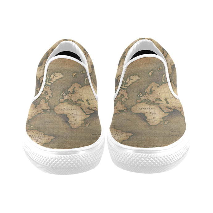 Old Map Women's Slip-on Canvas Shoes