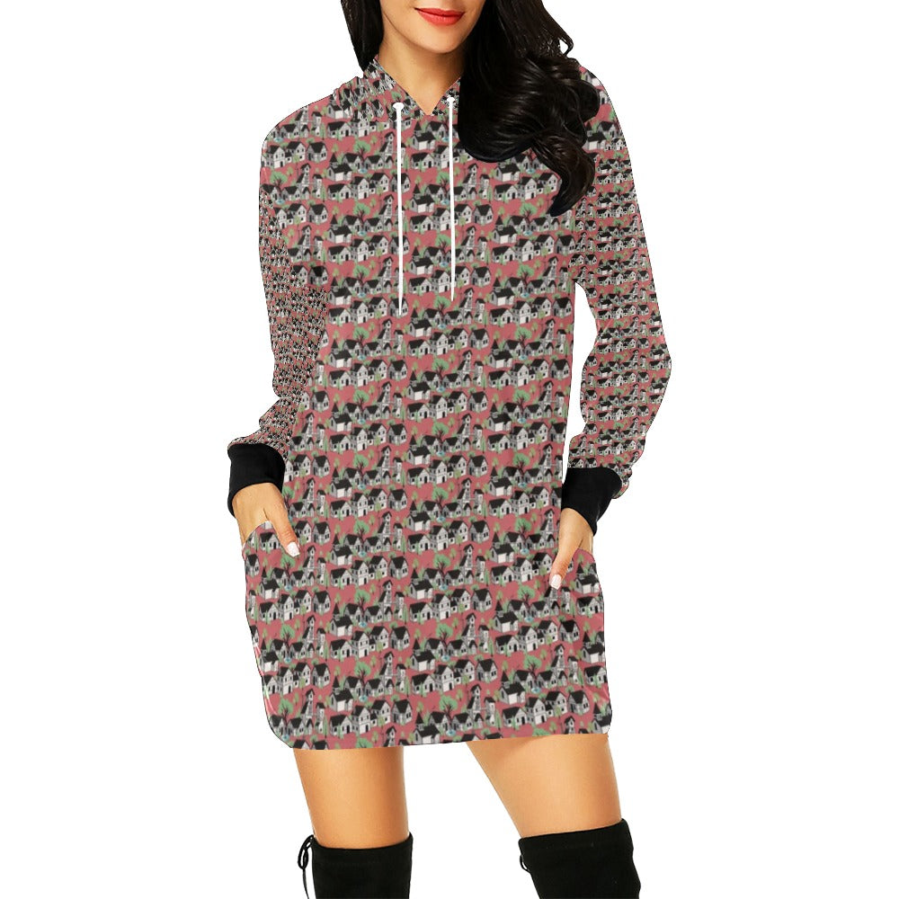 Medieval village Hoodie Mini Dress