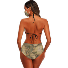 Old Map Stringy Bikini Set with Mouth Mask