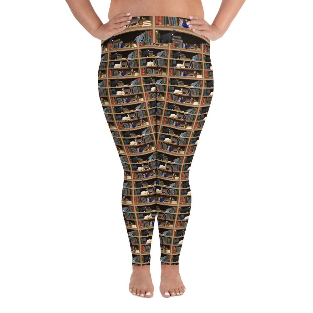 Cats + Books All-Over Print Plus Size Leggings