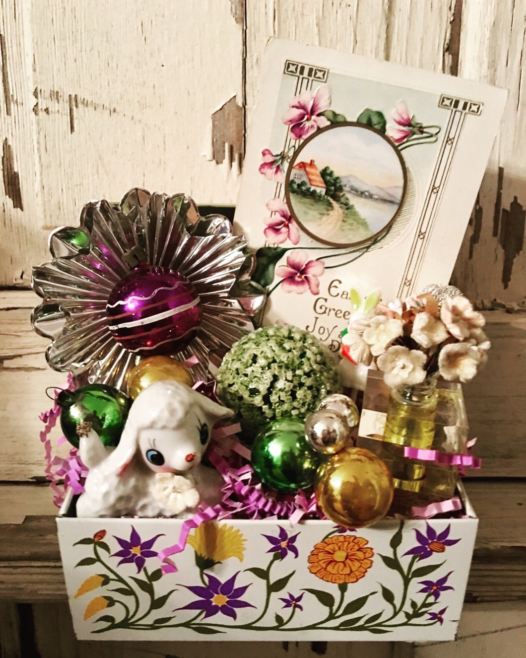 Vintage Purple Flowered Recipe Box - Decorated For Easter!