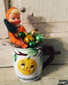 "Vintage ""Drink Orange Juice"" Cup - Christmas"