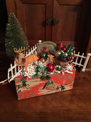 Vintage Merry Christmas Carboard Box Filled With Christmas Goodies!
