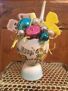 Vintage Egg Cup With Singing Chicks Filled For Baby!