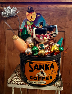 Vintage Sanka Coffee Tin Filled With Halloween