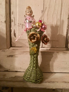 Vintage Green Wicker Vase Decorated For Christmas