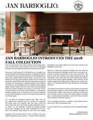 2018 Jan Barboglio Fall Collection Press Release