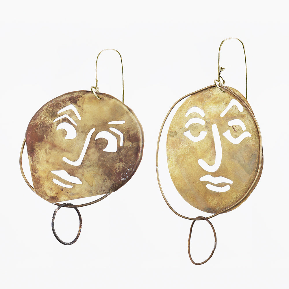 Juan Carlos y Isabella Earrings, Green Bronze