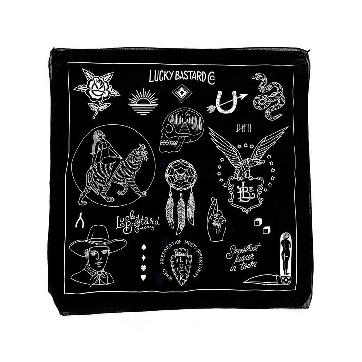 The Lucky Bastard Co Black Bandana