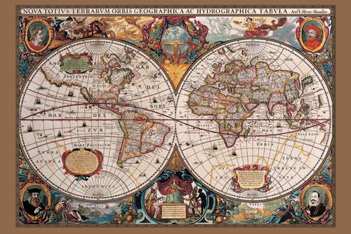 17th Century World Map Poster