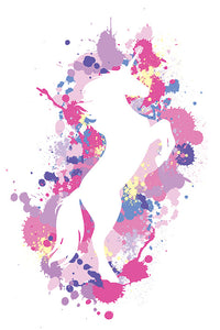 Art Splatter Silhouette Unicorn Poster - egoamo.co.za