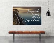 Beyond fear lies freedom motivational poster - room mockup - egoamo posters