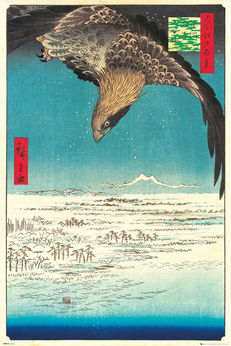 Eagle Over Fukagawa Plain Art Print egoamo.co.za Posters
