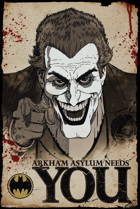 The Joker - Arkham Asylum Needs You Poster - egoamo.co.za