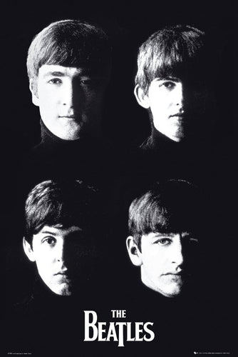 The Beatles - Black and white faces Poster - egoamo.co.za