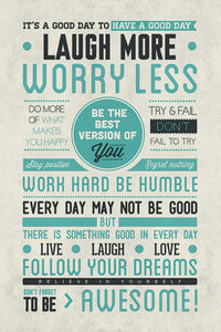Laugh More, Worry Less Poster - egoamo.co.za