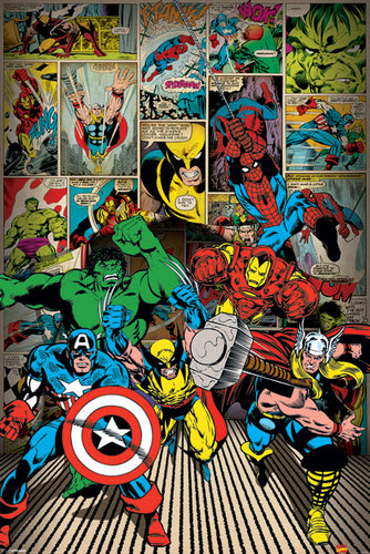 Marvel Comics - Here come the heroes Poster - egoamo.co.za