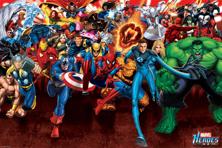 Marvel Heroes Attack Poster - egoamo.co.za