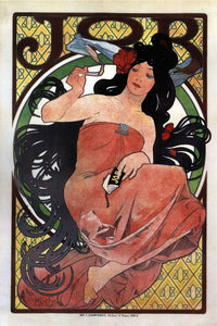 """JOB"" cigarette paper by Alphonse Mucha  - Art Nouveau Poster - egoamo.co.za"