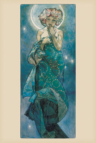 Moon by Alphonse Mucha  - Art Nouveau Poster - egoamo.co.za