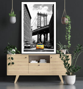 New York Manhattan Bridge Yellow Cab poster - egoamo posters