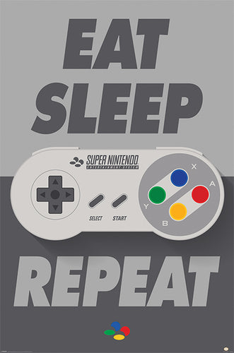 Eat Sleep Game Repeat - Nintendo Gaming Poster - egoamo.co.za