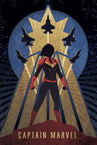 Captain Marvel - Art Deco Poster
