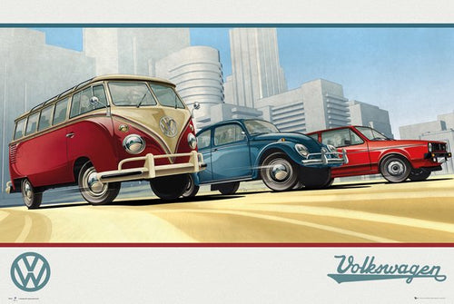 Retro Volkswagen Camper, Beetle and Golf Poster - egoamo.co.za