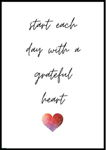 Start each day with a grateful heart A2 poster - egoamo posters