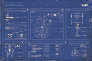 Star Wars - Rebel Alliance Fleet Blueprint - Poster - egoamo.co.za