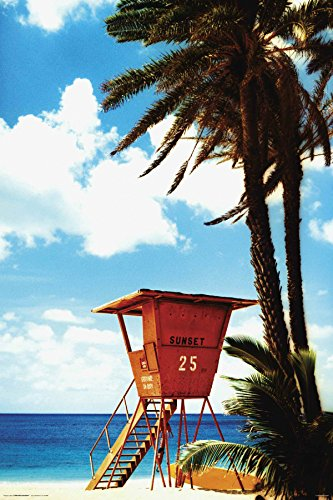 Life Guard Hut on a Tropical Beach - Poster - egoamo.co.za
