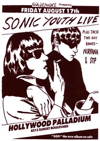 Vintage Sonic Youth, Nirvana and STP gig Poster