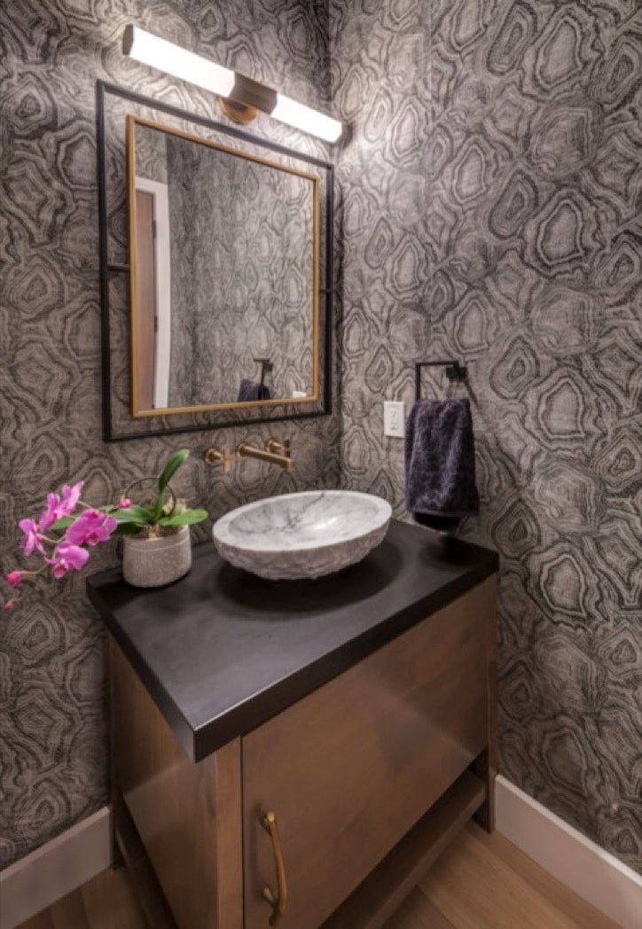 Powder room design for Martis Camp home in Truckee, CA.