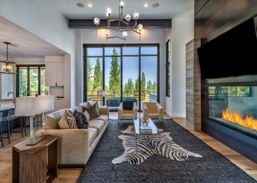 Interior design for Martis Camp family room in Truckee, CA.