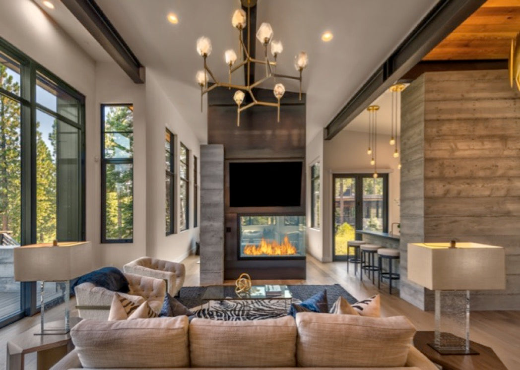 Interior design for Martis Camp great room in Truckee, CA.