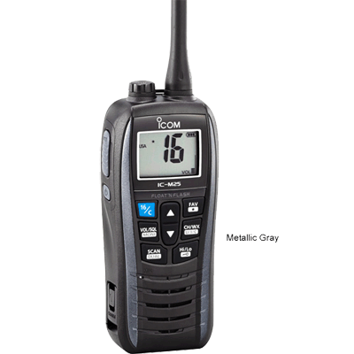 Icom VHF-HH, Float+Flash, USB, 5 Watt, Gray