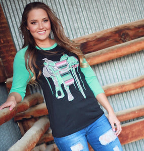Saddle Up Baseball Tee