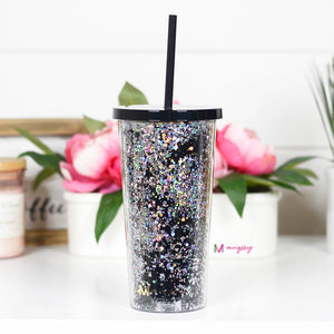 Glitter Tumbler with Straw