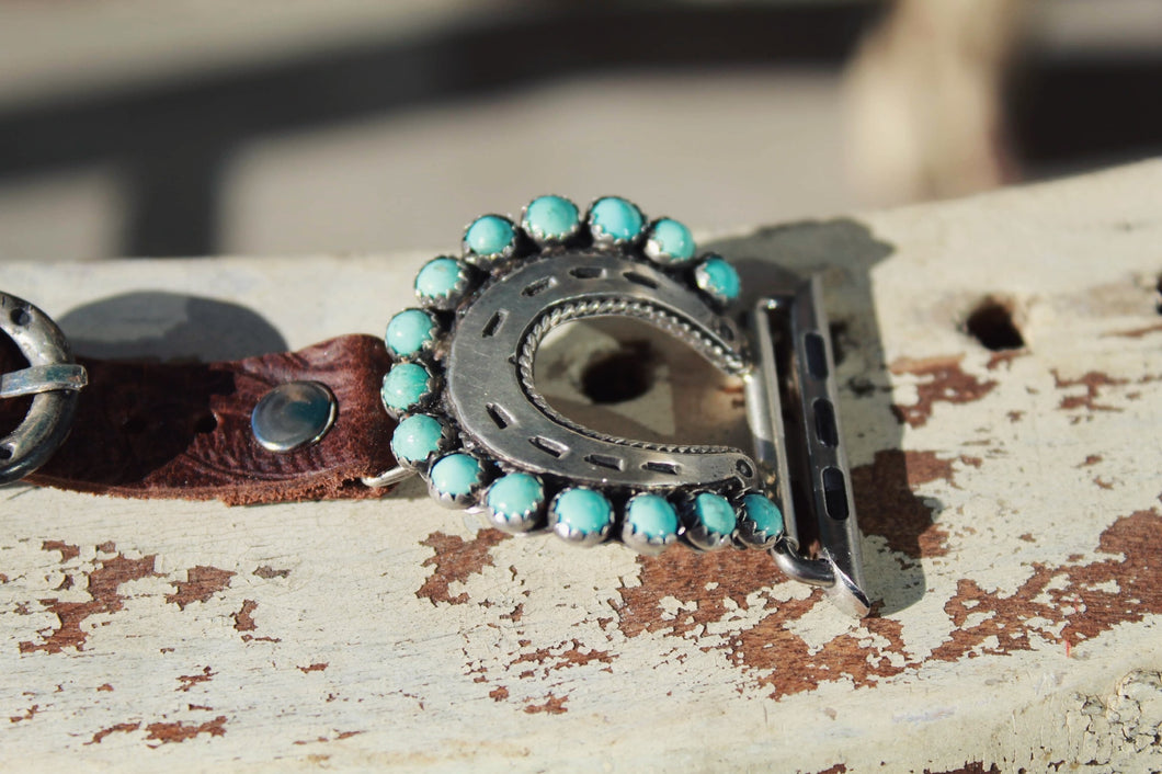 Turquoise Horseshoe by Wild Horse Watchin' Bands