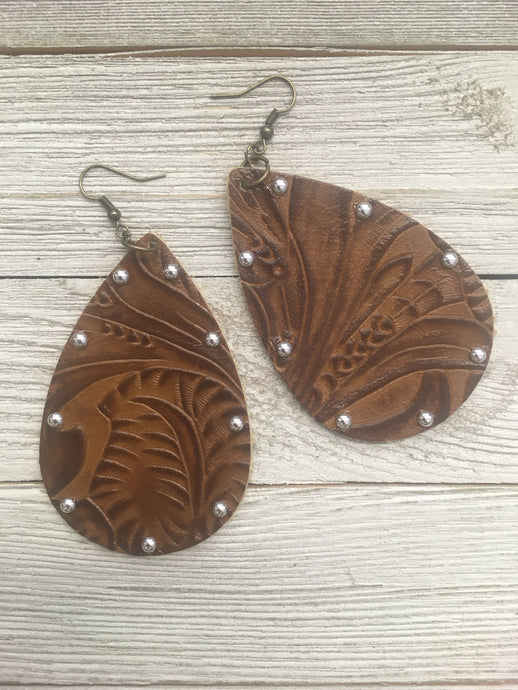 Light Leather with Nail Heads Earrings
