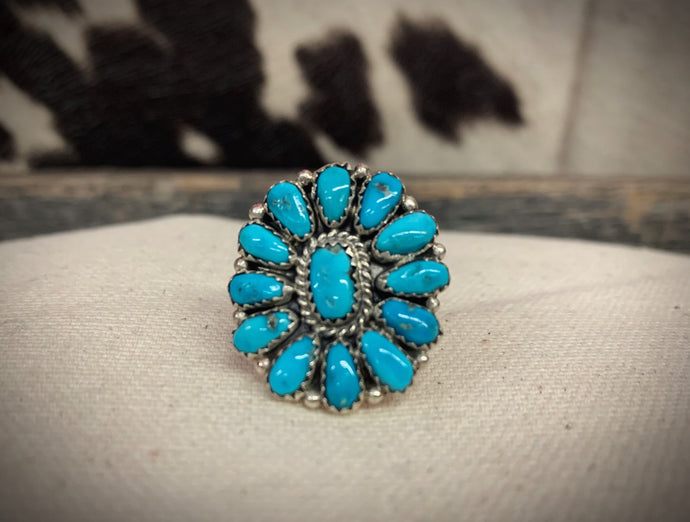 Whatever You Say Turquoise Flower Ring