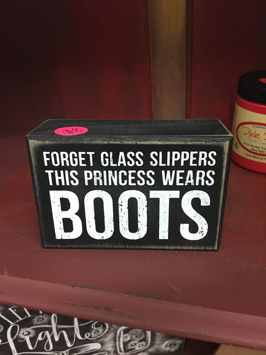 Forget the slipper-boots box sign